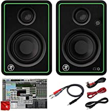 Mackie CR3-X 3-Inch Creative Reference Multimedia Monitors Bundle with Pro Tools First DAW Music Editing Software and Dual 1/4