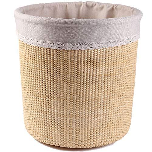 JOMSK Cesta de lavandería Grande para Dormitorio Hogar portátil Durable Rattan Ropa Sucia Cesta Redonda Cesta de Almacenamiento Cesta Tejida (Color : Beige, Size : One Size)