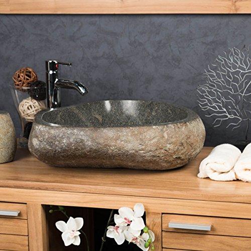 wanda collection Grande Vasque en Pierre Naturelle Galet DE Riviere 50