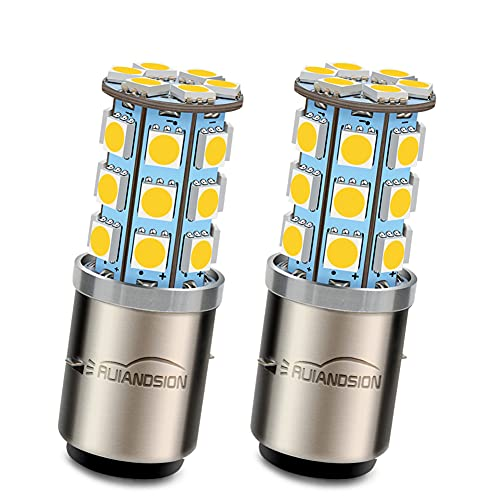 Ruiandsion 2pcs BA20D LED Motorcycle Headlight Bulb 6V Super Bright 5050 27SMD Chipset LED Bulb High Low Beam,4300K Warm White