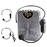 15W Amplificatore Vocale Portatile, 2600 mAh Ricaricabile Altoparlante Bluetooth con Microfono Cablato Senza Fili, Supporto TF AUX Musica Registrazione, Mini Sistema PA per Insegnanti Tour Guida