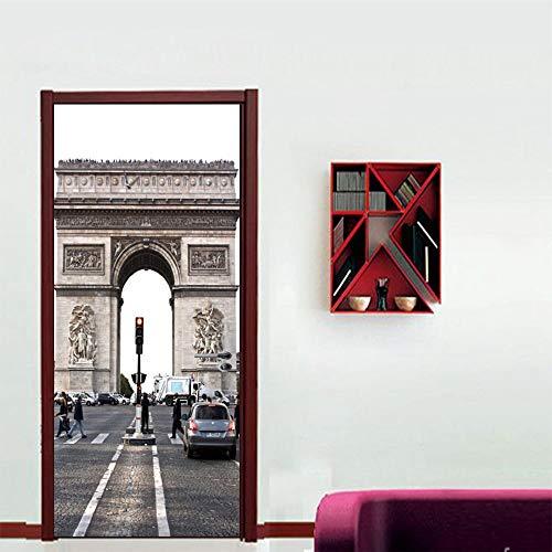 Arco del triunfo Francia Edificio clásico Etiqueta de la puerta de la pared Etiquetas de la puerta PVC Mural Autoadhesivo Etiqueta del arte Etiqueta de la puerta a prueba de agua