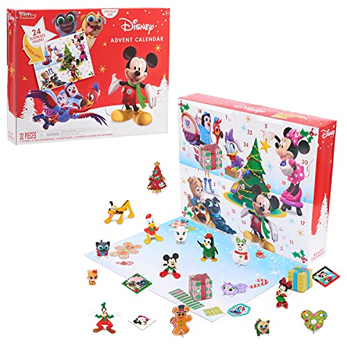 Disney Junior Advent Calendar 2020, 32 pieces, figures, decorations, and stickers, by Just Play