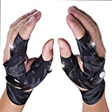 Camo LED Flashlight Glove Gifts for Men Father Day Outdoor Fishing Gloves Dad Men Gifts with Stretchy Strap Screwdriver for Repairing Cars Night Running Fishing Camping Hiking in Dark Place (1 Pair)