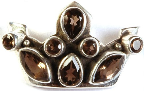 Faceted Smoky Quartz Crown Pendant - Sterling Silver
