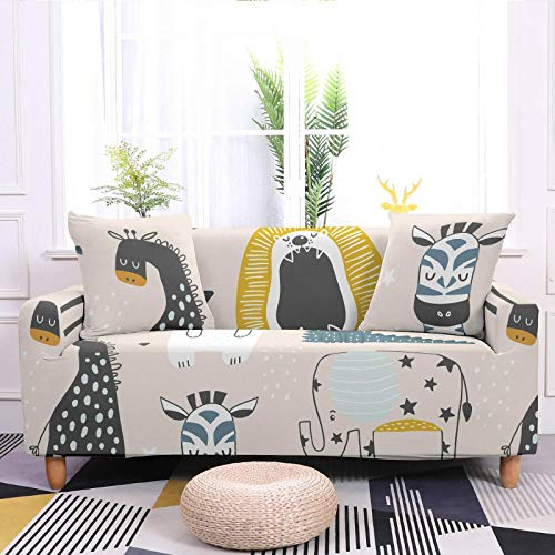 Stretch Sofa Couch Covers Elastic Fabric giraffe Pattern Universal Fitted Armchair Loveseat Settee Slipcover Durable Furniture Protector From Dogs/Pets/Kids,2,Seat 145,185cm