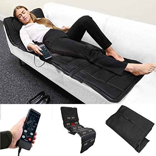 Sentik Full Body Foldable Heated Massage Mat Mattress Flat Back Heat Therapy Floor Chair or Bed Muscle Relief Stress Tension With Remote Control