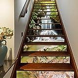 FLFK 3D Wasserfall Natürlich Landschaft Selbstklebend Treppe Aufsteher Wandmalerei Vinyl Abziehbild Tapezieren Aufkleber 39.3Zoll x7.08Zoll x 13stücke