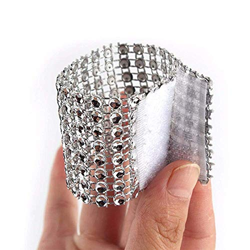 Yuengs 100 PCS Napkin Rings Sparkly Adornment for Wedding/Shower / Party – Velcro Napkins wrap (Silver)