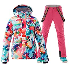 WINDPROOF AND BREATHABLE :Ski suit women using high-performance waterproof fabric technology, combines a soft feel and comfort ventilation function, sewing clothes use whole seamless high-temperature adhesive process. Seal all tile joints, seams and ...
