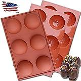 3 moldes de silicona semiesférica de 6 cavidades de 7 cm para bombas de chocolate caliente, molde de bomba de cacao caliente para hornear, pasteles, gelatina, mousse