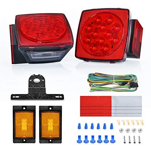 Nilight 2 piezas de luces LED cuadradas para remolque, de perfil bajo, sumergibles, IP68, luces direccionales y de freno traseras, laterales o para la placa de circulación, de 12 V, remolque utilitario, lancha, cámper, vehículo recreativo de ejes, motonieve, marinos