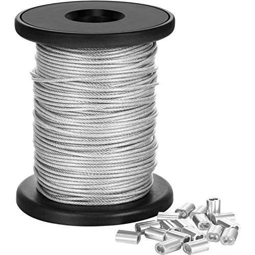 Chengu Vinyl Coated Picture Frame Hanging Wire, Stainless Steel Wire Spool with 20 Pieces Aluminum Crimping Loop Sleeve, Supports up to 110 Lbs (1.5 mm x 98 Feet)