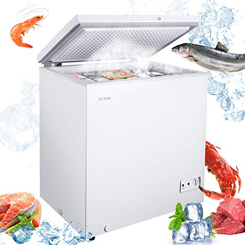 TACKLIFE 5 Cu.ft Chest Freezer, Free Standing Compact Deep Freezer with Removable Basket, 7 Temperature Setting, From -11.2ºF to 10.4ºF, Adjustable Temperature, Defrost Water Drain/ (White)-MPWCF053T