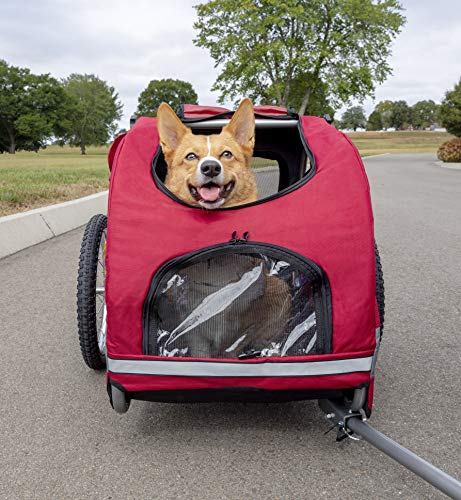 PetSafe Happy Ride Aluminum Dog Bike Trailer - Lightweight Frame - Easy to Connect and Disconnect to Bicycles - Includes Three Storage Pouches and Tether - Collapsible to Store - Medium