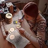 Fuyit Holzscheiben 30 Stücke Holz Log Scheiben 7-8cm mit Loch Unvollendete Holzkreise für DIY Handwerk Holz-Scheiben Hochzeit Mittelstücke Weihnachten Dekoration Baumscheibe(30st 2.8