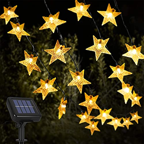 Opard Solar String Lights, 12m/39ft 100 LED IP65 Waterproof Solar Star Lights 8 Lighting Modes Warm White Solar Powered Lights for Outdoor, Garden, Party, Wedding