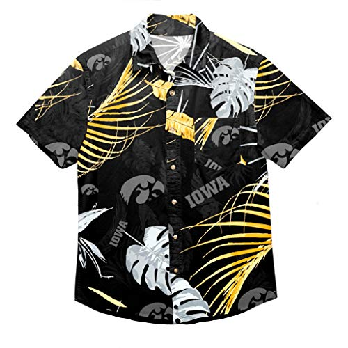 NCAA Iowa Hawkeyes Mens Tropical Button Up Shirtneon Palm Tropical Button Up Shirt, Neon Palm, XX-Large