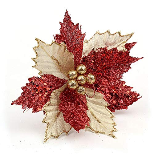 Shenykan Beautiful Christmas Tree Decorations Artificial Flowers Poinsettia Glitter Flower Wedding Ornament Decoration Ornament - Red - 22cm