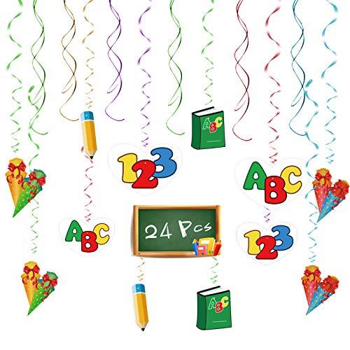SEELOK Schulanfang ABC Girlande, 24Stk Einschulung Spirale Girlande Schulstart Wirbel Hängen Schuleinführung Deko mit Zuckertüte für Schule Klassenzimmer Schulbeginn Geburtstag