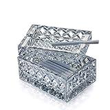COLiJOL Porta Cigarrillos Cubo de Colillas de Cigarrillos Cenicero de Cristal Cuadrado de Personalidad con Tapa Sala de Estar Mesa de Centro Oficina en Casa