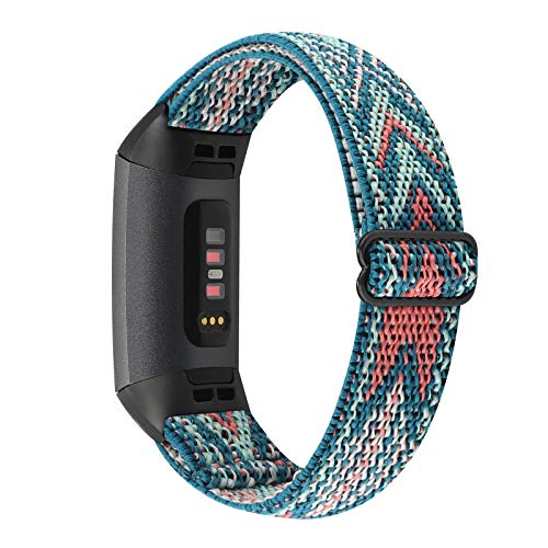 YONWORTH Adjustable Elastic Nylon Watch Band Compatible with Fitbit Charge 4/Charge 3/SE Bands, Stretch Breathable Nylon Sport Solo Loop Strap Soft Replacement Wristband for Women Men (Green Arrow)