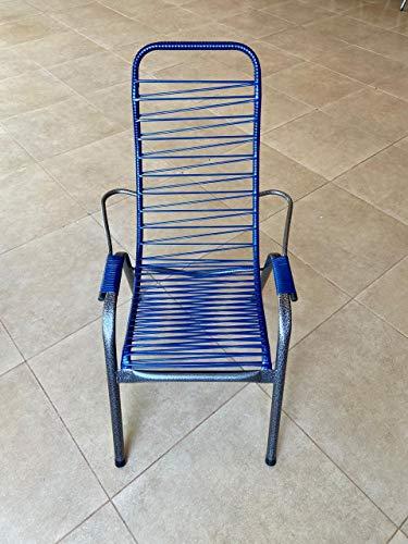 Cadeira de Área em Fio Trançado Azul