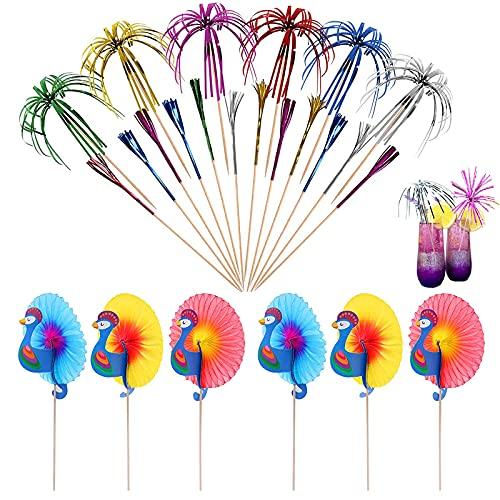 150 Pezzi Decorazioni per Cocktail Party Stuzzicadenti in Legno per Cocktail Cocktail Sticks Bastoncini di Frutta Stecchini Fuochi d'artificio e Pavoni Decorativi per Festa Compleanno Ricevimento