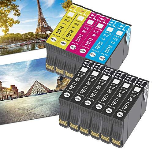OGOUGUAN T0715 - Cartucho de tinta compatible con Epson T0711, T0712, T0713, T0714, con Epson Stylus SX200, SX215, SX218, SX400, SX415 SX510W, SX515W, DX4450, DX5050, DX6000 y DX8450(12 unidades)