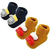 waitFOR 2 Pairs Infant Baby Winter Christmas Floor Socks Cartoon Santa Claus Patchwork Xmas Anti Slip Soft Warm Thick Socks Shoes Christmas Socks Stockings Suit for 0-12 Months Yellow