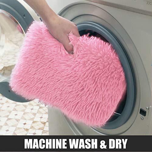 "Bathroom Mat 24""x16"" Non-Slip Soft Shower Rug Plush Microfiber Water Absorbent Thick Shaggy Floor Mats, Sitting Room Foot pad (Pink)"