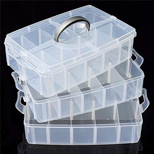 DyNamic 3-Laags Opbergkoffer Afneembare Plastic Cosmetische Gereedschapskist Sieradenhouder Container 30 Raster - Roze