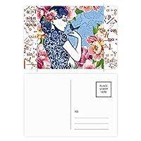中国文化の鳥の花の女性 公式ポストカードセットサンクスカード郵送側20個