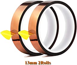 2 Rolls 13mm X 33m 108ft Heat Press Tape- Heat Resistant Sublimation Tape for Heat Transfer,3D Printers High Temperature Tape and Electronics Polyimide Tape No Residue