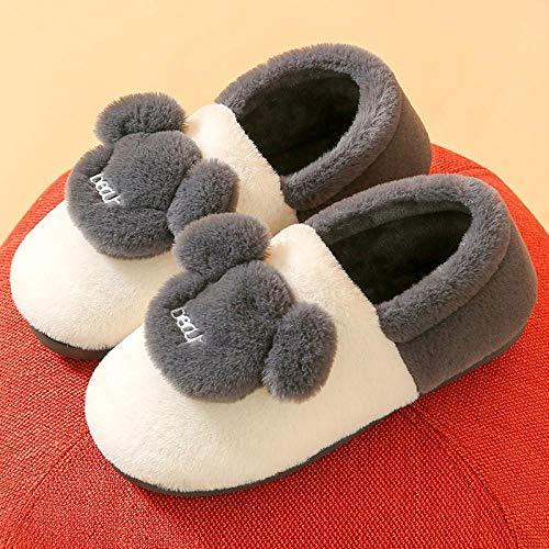 xinghui Pantuflas con Forro Polar,Zapatillas de algodón Zapatillas de Lana cálidas Interiores de Suela Gruesa para el hogar Lindo-Gris [Osito Mantener Caliente]_40-41 Yardas