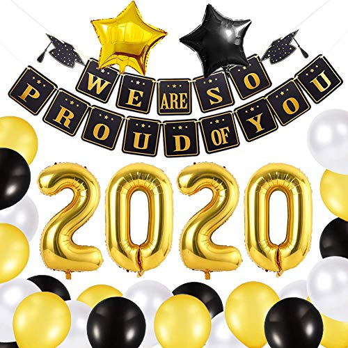 Xiangmall Decoracion de Graduacion 2020 Suministros Fiesta Negro y Oro Globos de Látex We are So Proud of You Banner Globos 2020 Graduacion Globos de Aluminio Estrellas