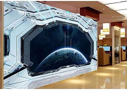 3D Stereo Internet Cafe Dekoration Wallpaper Future Technology Sinn Raumschiff Kabine Wand Papar Kreative Metall Science Fiction Thema Restaurant Wandbild, 300X210cm