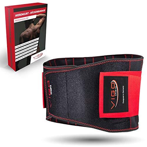 Vigo Sports Rugbandage wasmachinebestendig - anti-transpiratie nierriem voor effectieve stabilisatie van de rug - rugsteunriem voor heren en dames - warme lendensteun riem