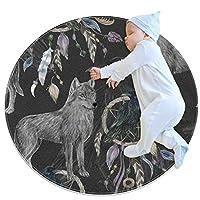 エリアラグ軽量 シームレスパターンの黒いカラスとオオカミ フロアマットソフトカーペット直径31.5インチホームリビングダイニングルームベッドルーム