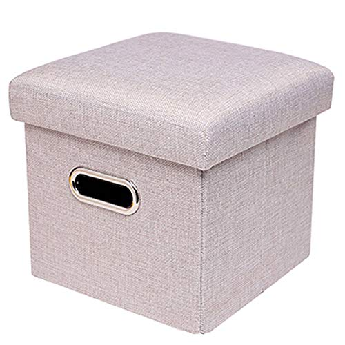 Folding Ottoman, Storage Footrest Stool Space-Saving Cube Padded Seat Footstool Shoe Bench Toy Box Great for Bedroom Office Living Room-38x38x38cm(15x15x15inch)-B