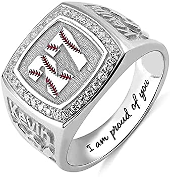 Elsie Lopez Personalized American Baseball Sport Softball Band Name Ring Engraved Baseball Solitaire Birthstone Ring Sterling Silver 925 Wedding Band