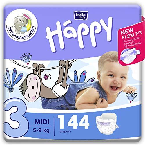 bella baby Happy Windeln für Babys Gr. 3, 5-9 kg, im Monatspack mit perfekter Passform und maximalem Schutz - 144 Stück