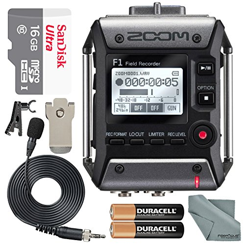 Zoom F1 Field Recorder with Lavalier Microphone F1LP Package with 16GB MicroSD Card and Photo Savings Basic Bundle