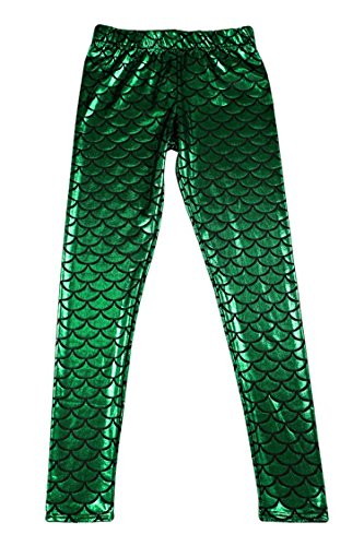 Alaroo Shiny Fish Scale Mermaid Leggings For Women Pants Green Plus XXL