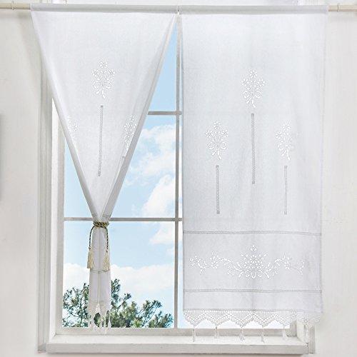 choicehot 1 Paar Weiß Baumwolle Vorhänge Romantische Häkeln Blumen Quaste Küche Gardinen Landhausstil Elegant Haus Büro Fensterdekoration Moderne Bistrogardine(2er Set,H150 x B70 cm)