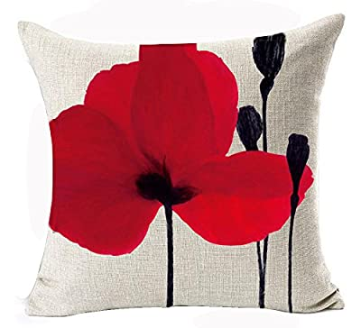 Andreannie Beautiful Charming Watercolor Oil Painting Red Poppy Sweetheart Cotton Linen Throw Pillow Case Cushion Cover New Home Office Indoor Decorative Square 18 X 18 Inches¡
