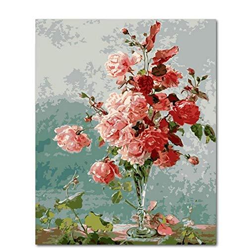 kaxiou Lienzo Un ramo de rosas rosadas DIY Pintura por números Arte de la pared Acrílico Pinturas en lienzo Paisaje DIY Arte moderno de la pared Imagen Regalo-40x50cm Pcs Sin Marco