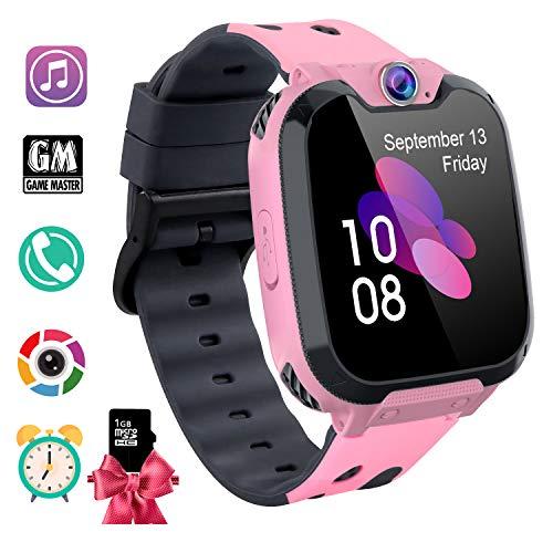 Kids Smartwatch MP3 Musik - 7 Spiele Kinder Smartwatch - Kids Smartwatch für 3-12 Ys Jungen Mädchen Geschenk (Mit 1G SD Card), Scherzt Intelligente Uhr mit Telefon Kamera Wecker Recorder Rechner