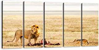 WOMAKE99 Lion amp; Prey in The Serengeti Fierce Lions and Pictures 5 Pieces Canvas Prints Wall Art Paintings Modern Abstract Geometry Wall Pictures for Living Room Bedroom Decoration Wall Posters