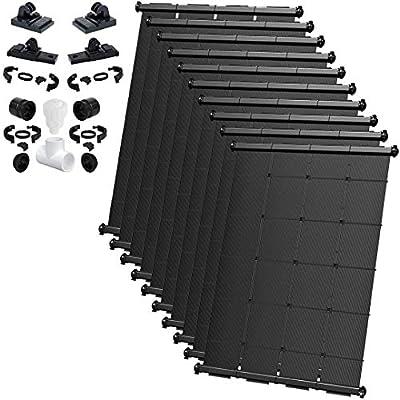SOLARPOOLSUPPLY Industrial Grade DIY Solar Pool Heating System Kit - Lifetime Limited Warranty - Wear & Freeze Resistant - (10) 4'X12.5' / 500 Square Feet